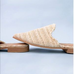 Miracle Mile Beige Wicker Flat Mule